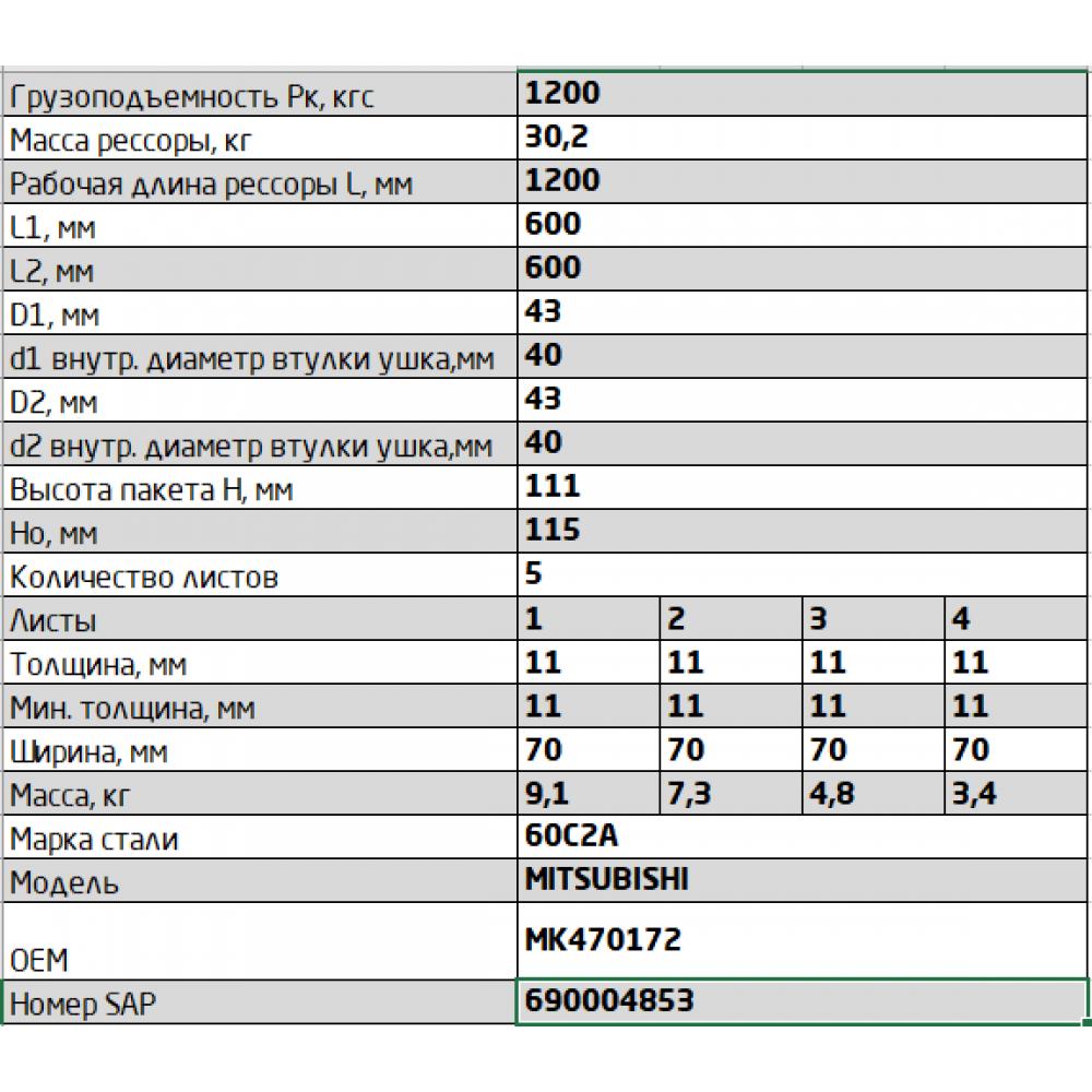 рессора Мitsubishi Canter 701105MSH-2902012-10 перед (MK470172), 690004853