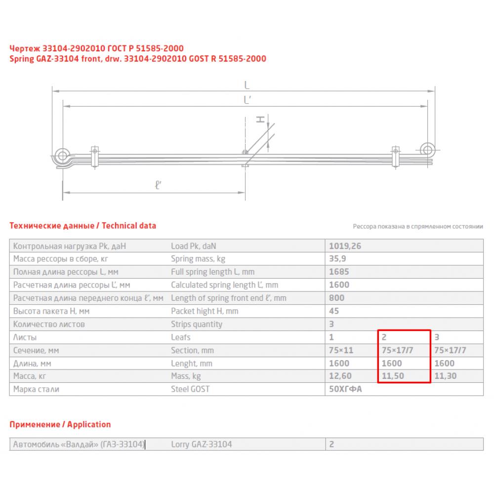 2 лист ресс Валдай 33104-2902102 перед, 690004871