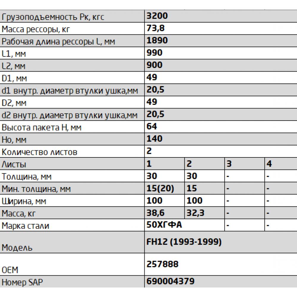 рессора Volvo 1003002VV-2902012-10 перед, 690004379