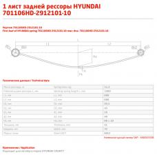 1 лист ресс Hyundai Каунти 701106HD-2912101-10 зад, 690003338