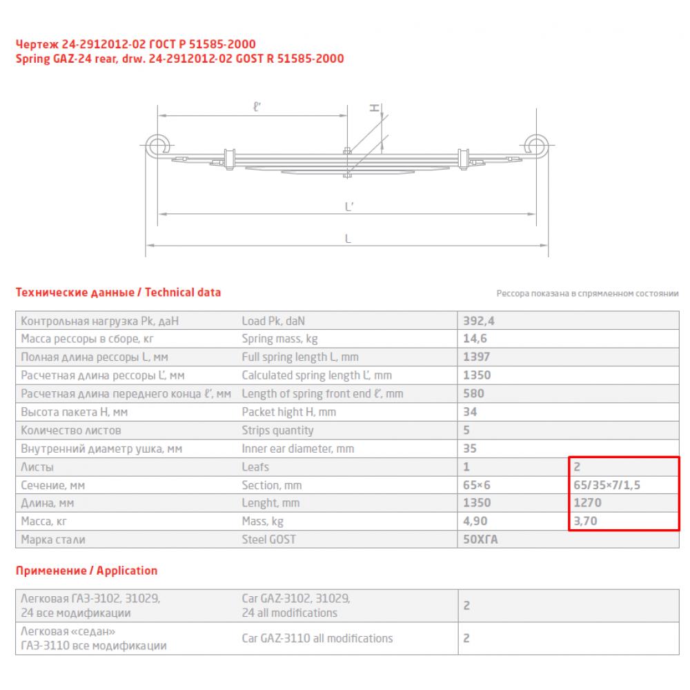 2 лист ресс ГАЗ 24-2912102-10 зад, 690000028