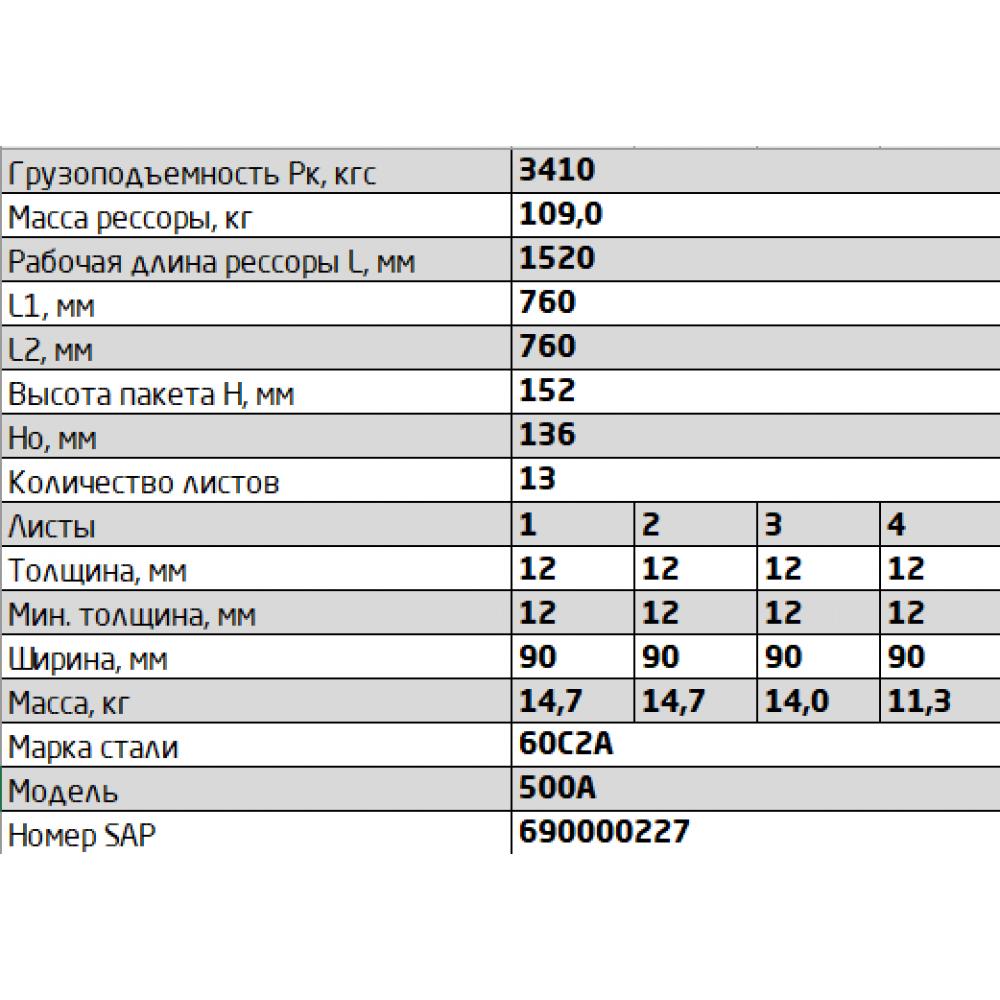 рессора МАЗ 500А-2912012 зад (аналог 690007401), 690000227