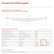 2 лист ресс ГАЗ 33104-2912102 зад (Валдай), 690004868