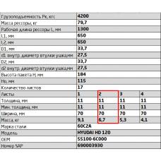 2 лист ресс Hyundai 701117HD120-2912102 зад, 690004561