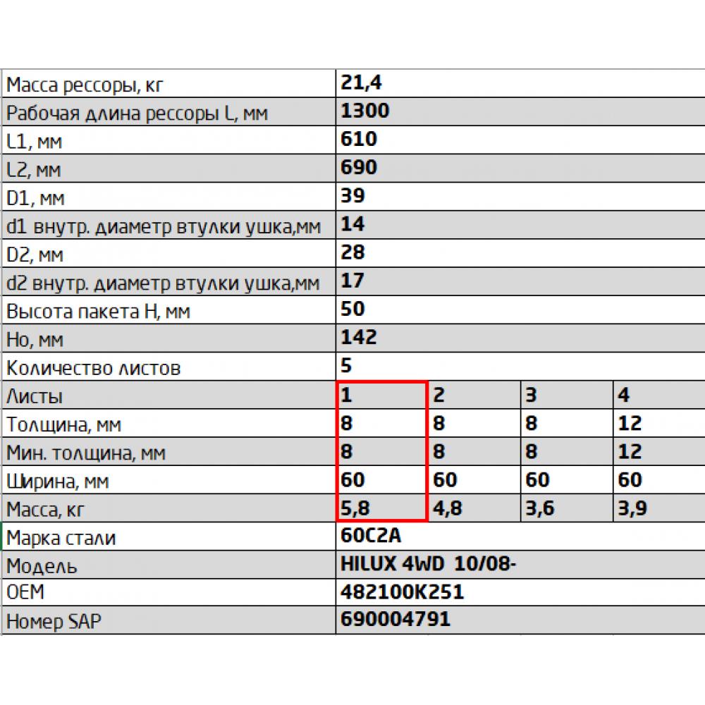 1 лист ресс Toyota HILUX 600805TY-2912101-10 зад (4WD KUN25/KUN26 10/08-), 690004820