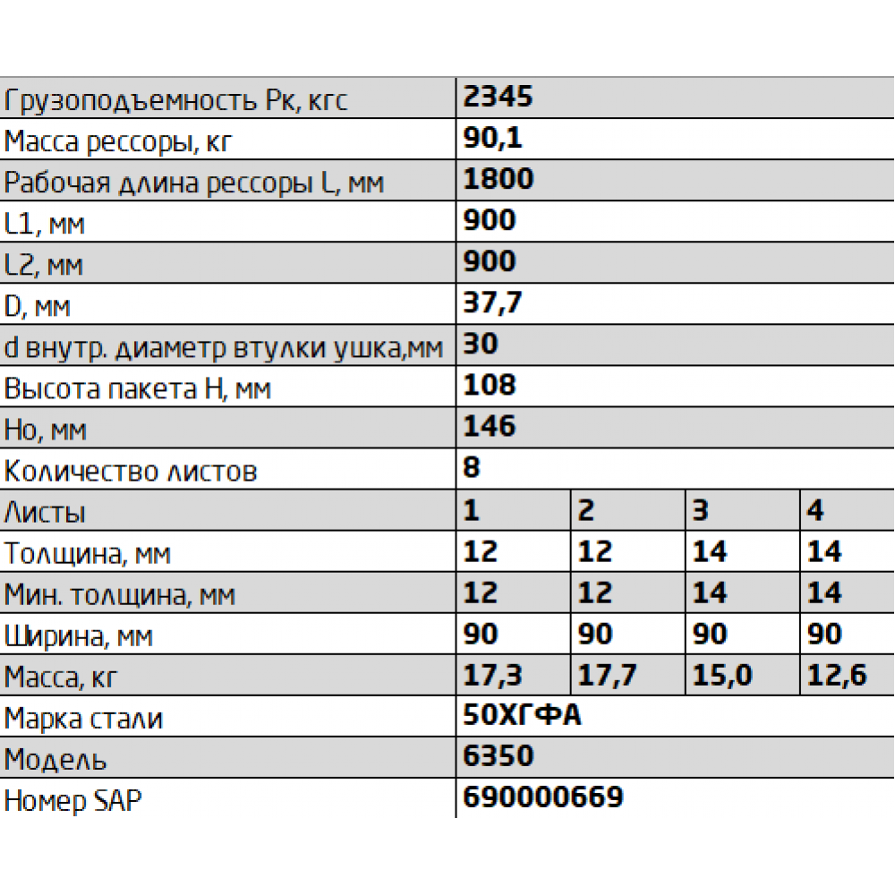 рессора Камаз 6350-2902012 перед (8лист), 690000669