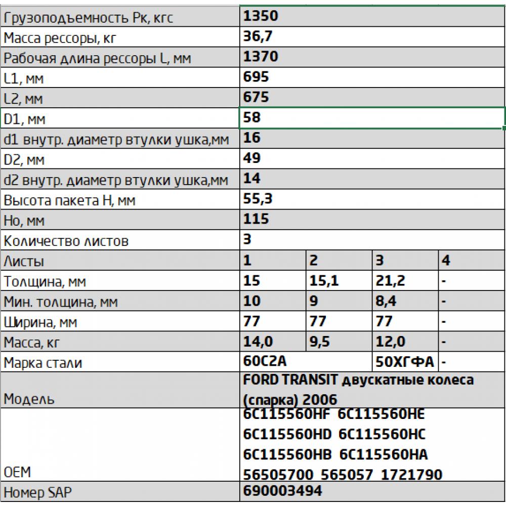 рессора FORD Transit 771503FD-2912012-10 зад (TT9 350/430 кузов) (3-х лист), 690003494
