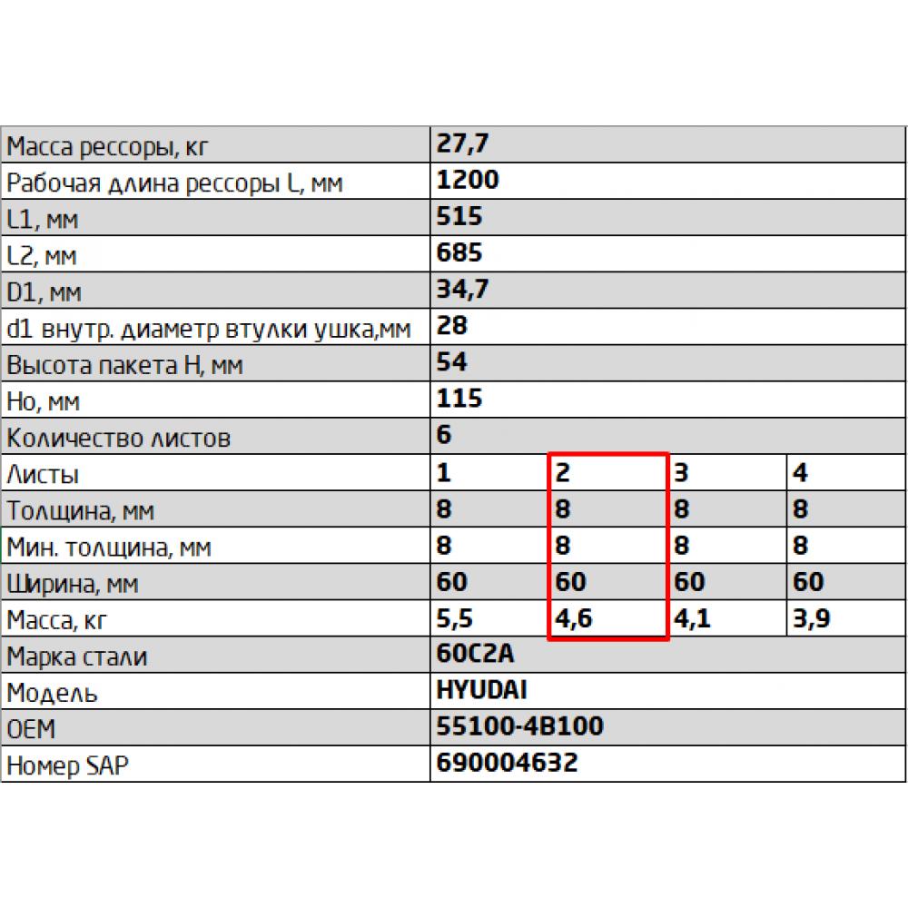 2 лист ресс Hyundai 600806HD-2912102 зад, 690004298