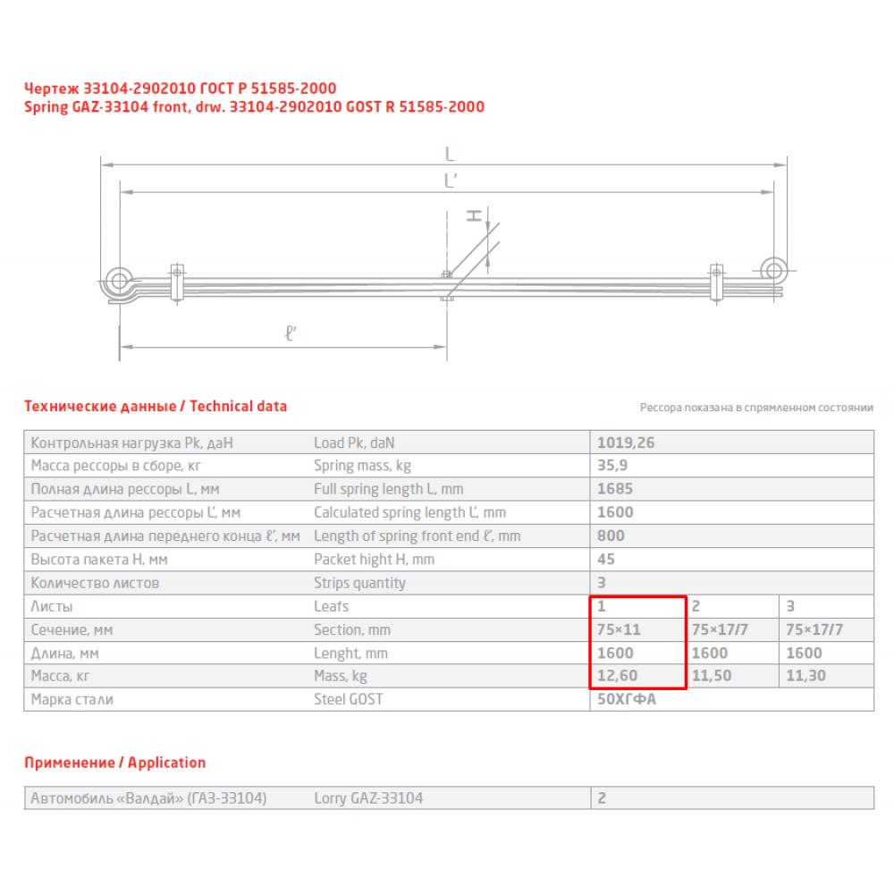 1 лист ресс ГАЗ-Валдай 33104-2902015 перед с/ш, 690004870