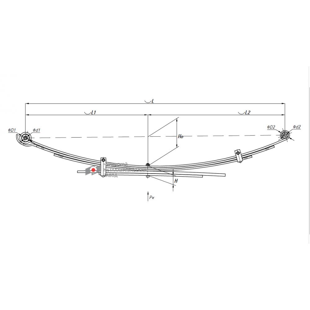 рессора Toyota HILUX 600805TY-2912012-10 зад (4WD KUN25/KUN26 10/08-) 482100K251 , 690004791