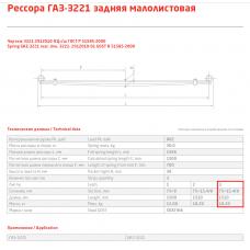 3 лист ресс ГАЗель Бизнес 3221-2912050-01 с/х зад, 690004883