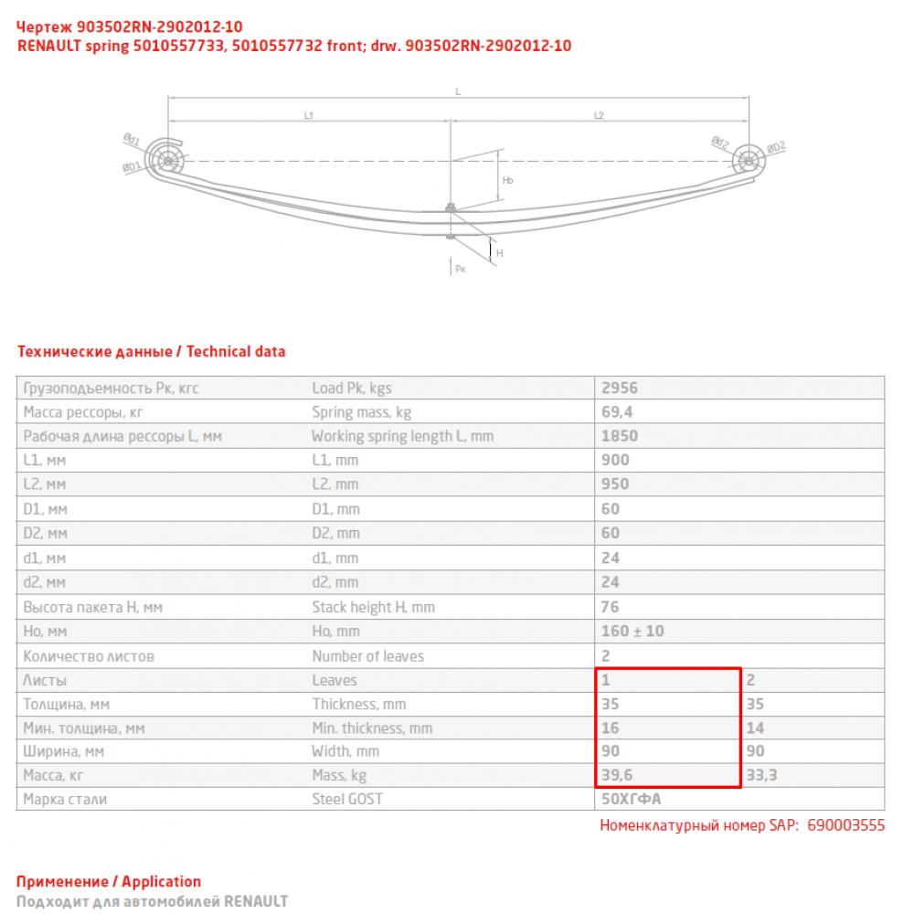 1 лист ресс Renault 903502RN-2902101-10 перед, 690003554