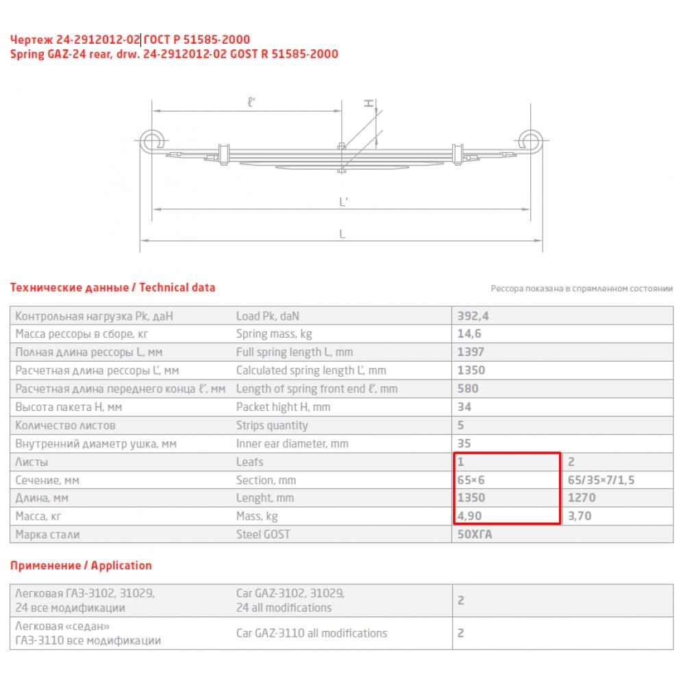 1 лист ресс ГАЗ 24-2912101 зад, 690000036