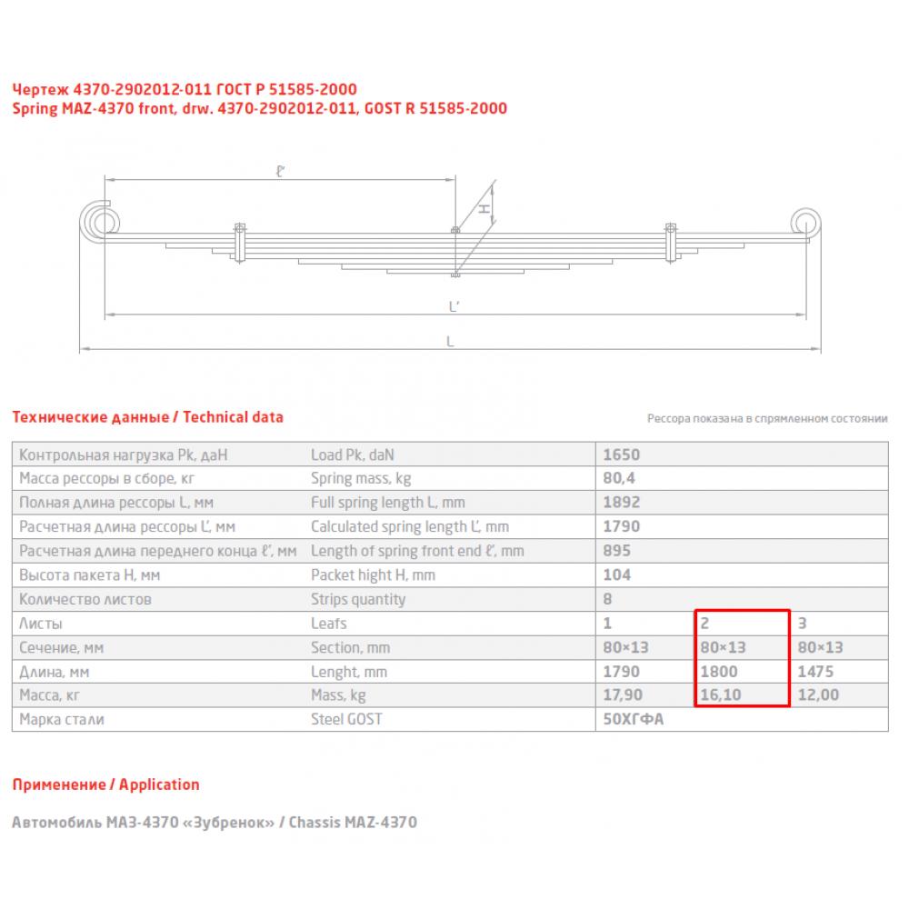 2 лист ресс МАЗ 4370-2902102-011, 690004879