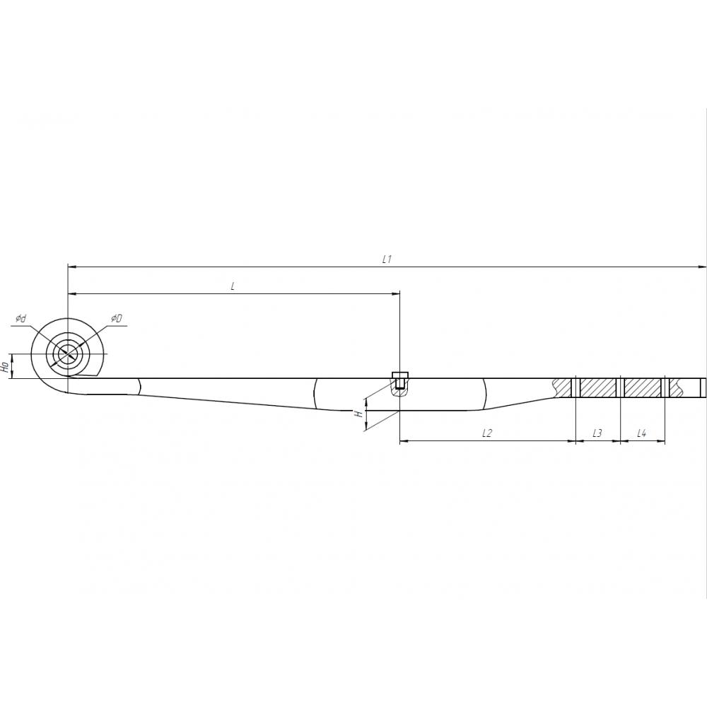 рессора Fruehauf 1005001FH прямая однолистовая рычаг (23601900), 690005227