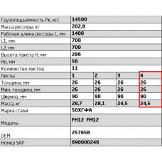 7 лист ресс Volvo 902611VV-2912050 зад с/х, 690005257