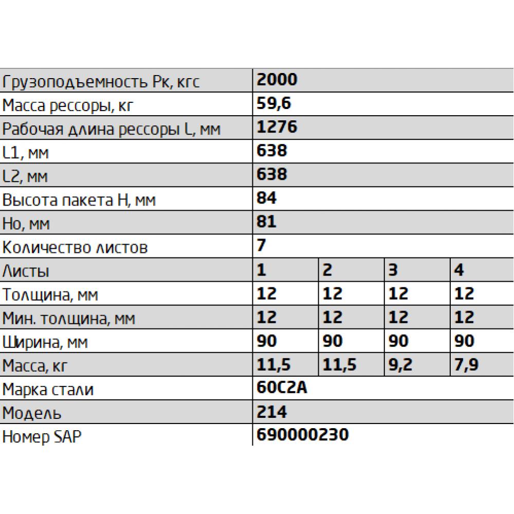 рессора Краз 214-2902012-06.7 перед, 690000230