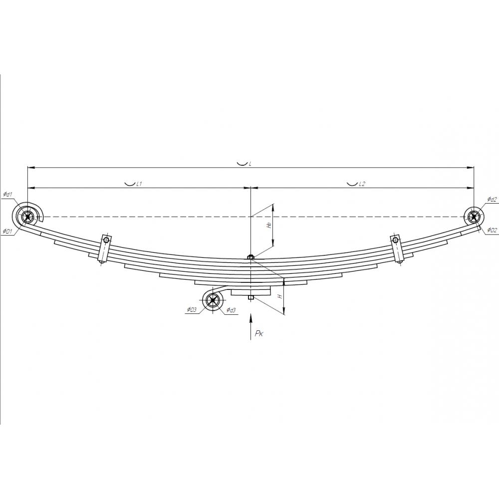 рессора Hyundai HD120 701108HD-2902012-10-L перед левая, 690005301