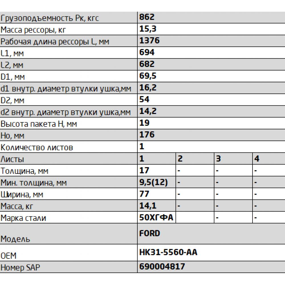 рессора FORD 771701FD-2912012-01-10 зад, 690004817
