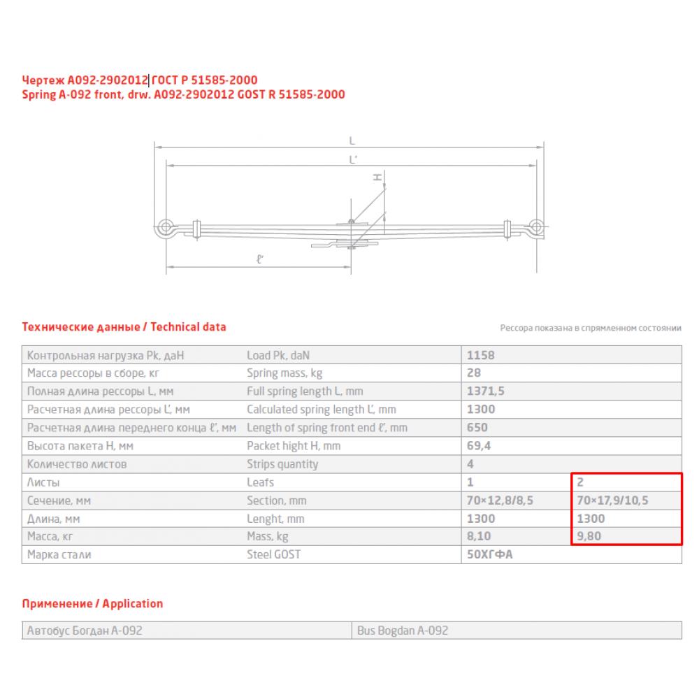 2 лист ресс Богдан А092-2902102 (7л), 690004848