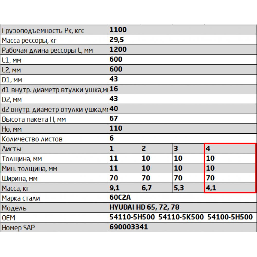 4 лист ресс Hyundai 701106HD78-2902104 (680мм) перед, 690004026