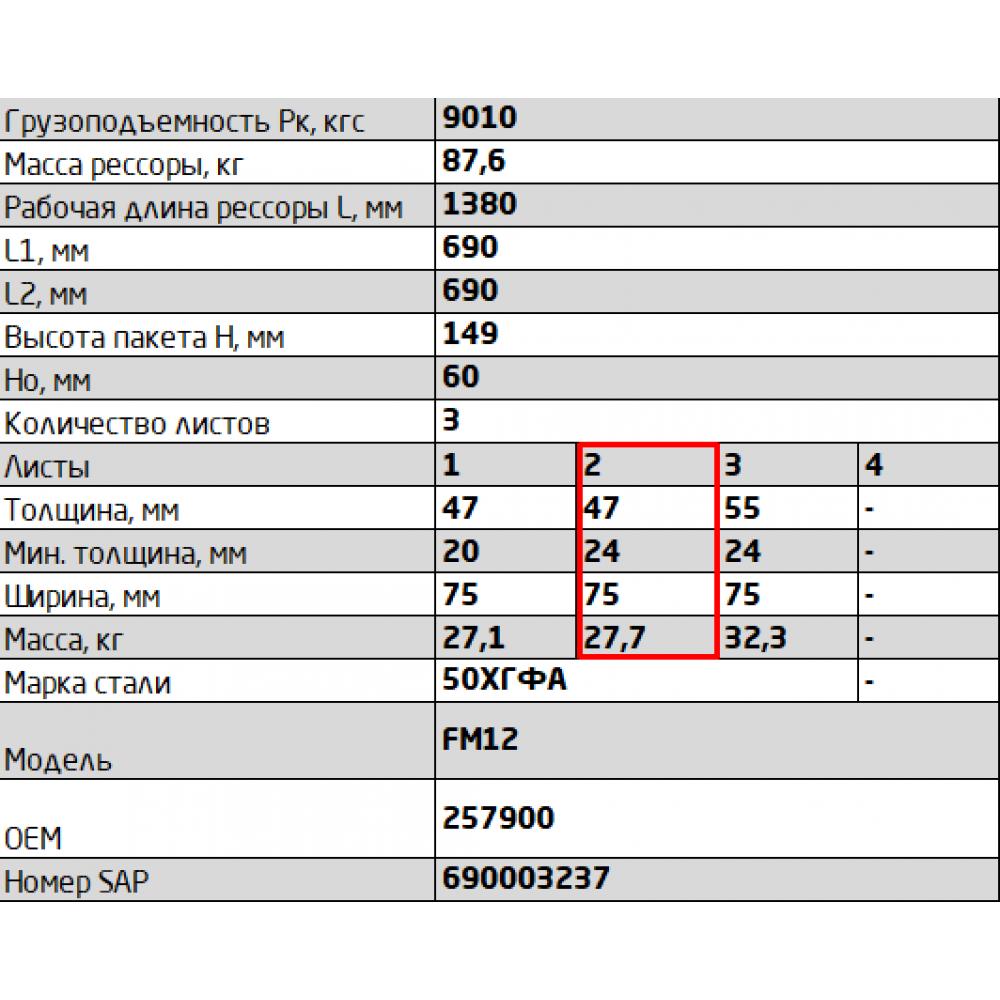 2 лист ресс Volvo 755603VV-2912102 зад, 690005091