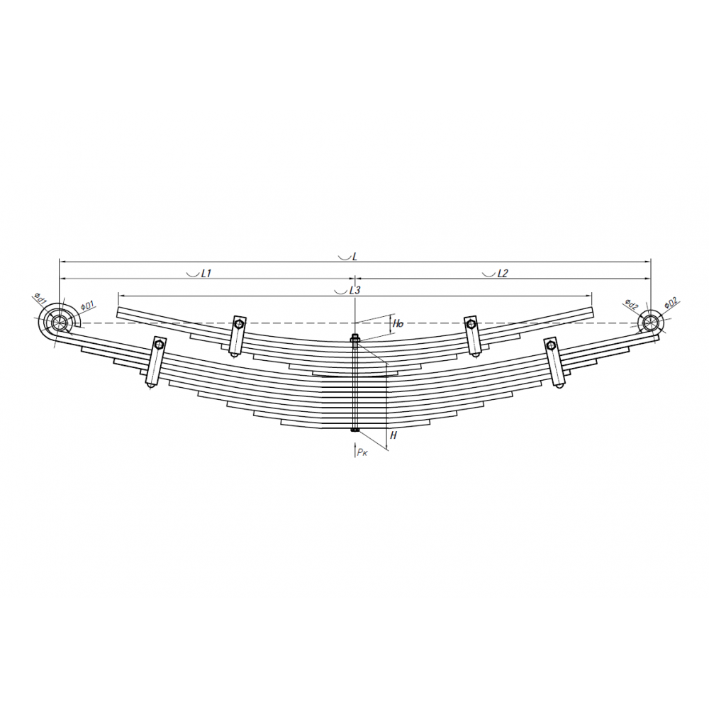 1 лист ресс Hyundai 701117HD120-2912101-10 зад, 690004562