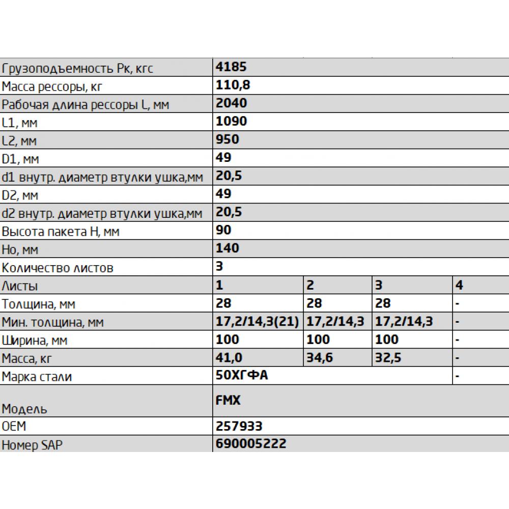 рессора Volvo 1002803VV-2902012-10 перед П (257933) (2040 длина, смещение), 690005222