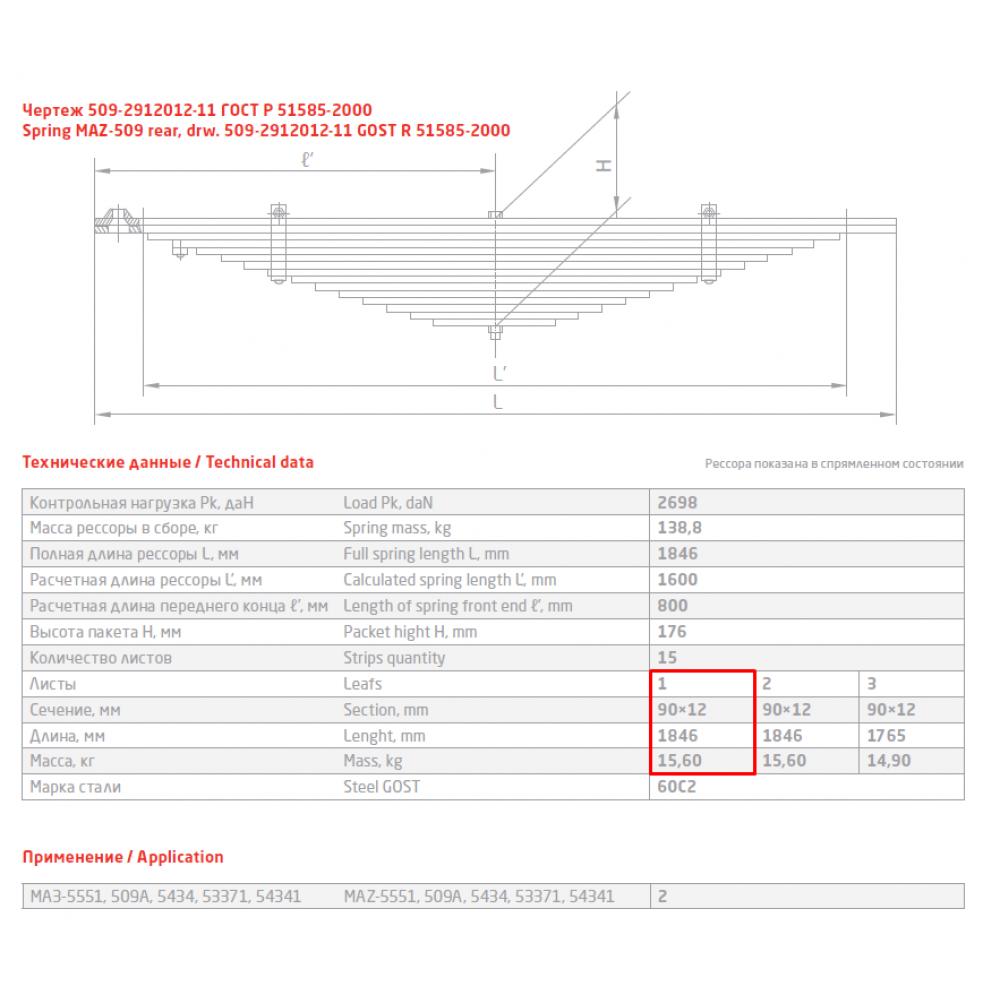 1 лист ресс МАЗ 509-2912101-20 зад, 690000052