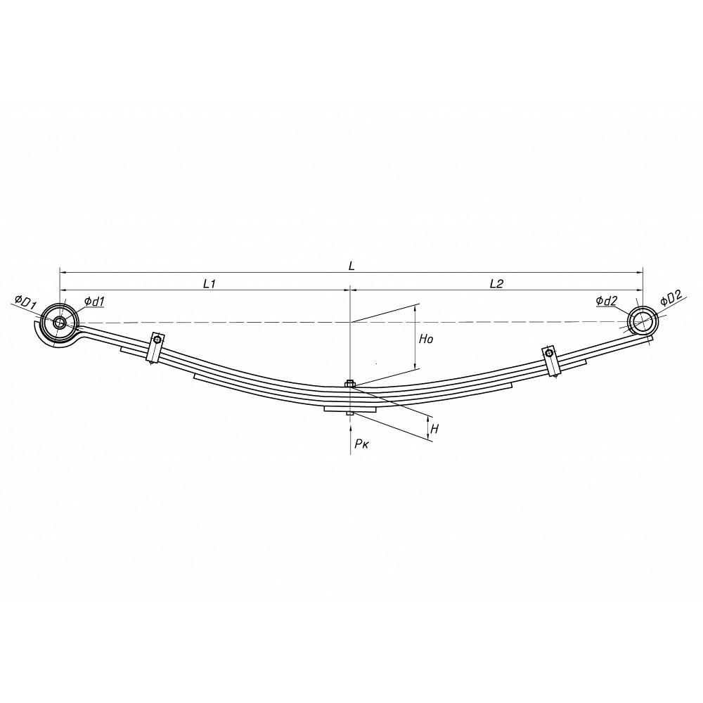 рессора Hyundai Каунти 701104HD-2902012-10 перед, 690003342