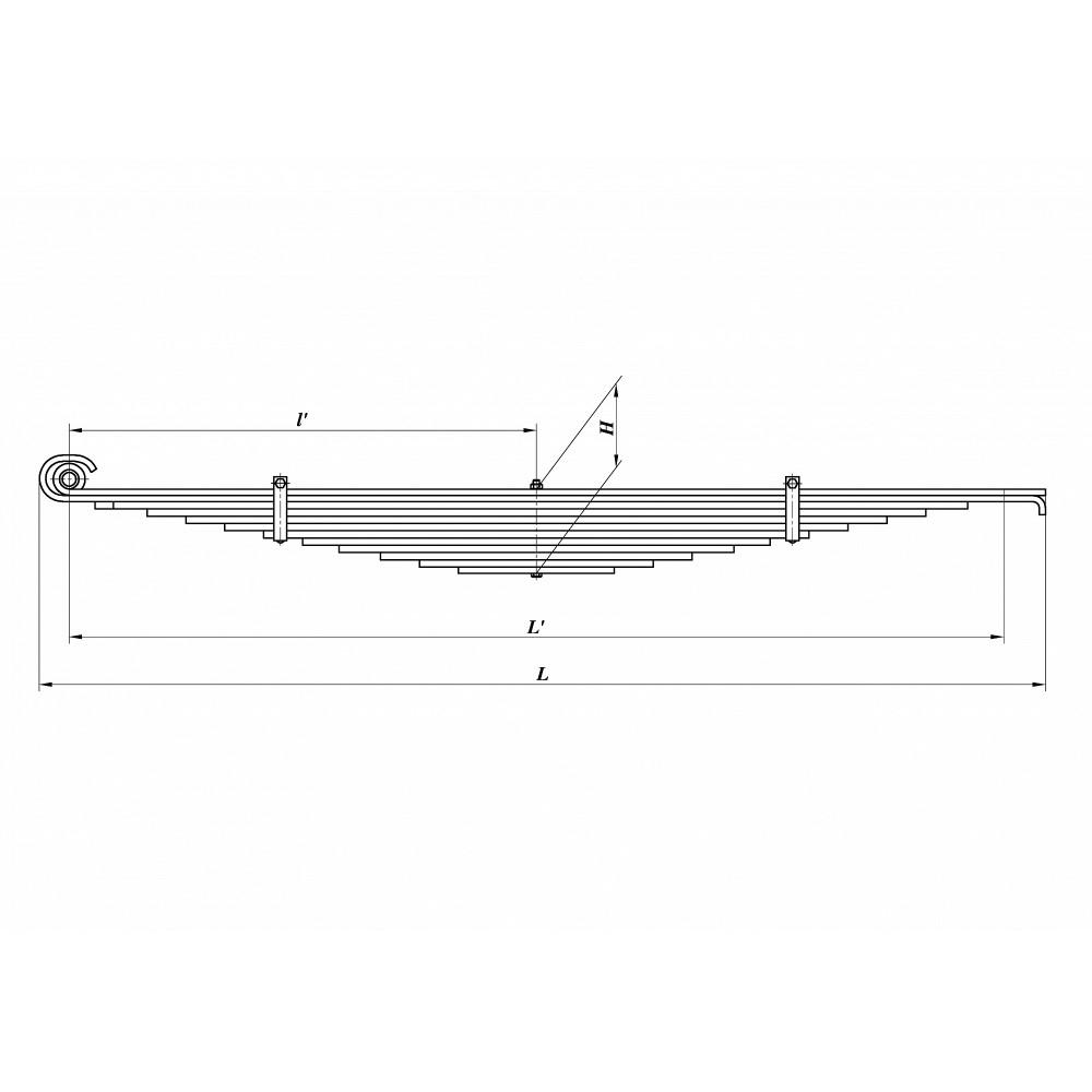 рессора Камаз 6520-2902012-20 перед с/у (аналог 690007426), 690000216
