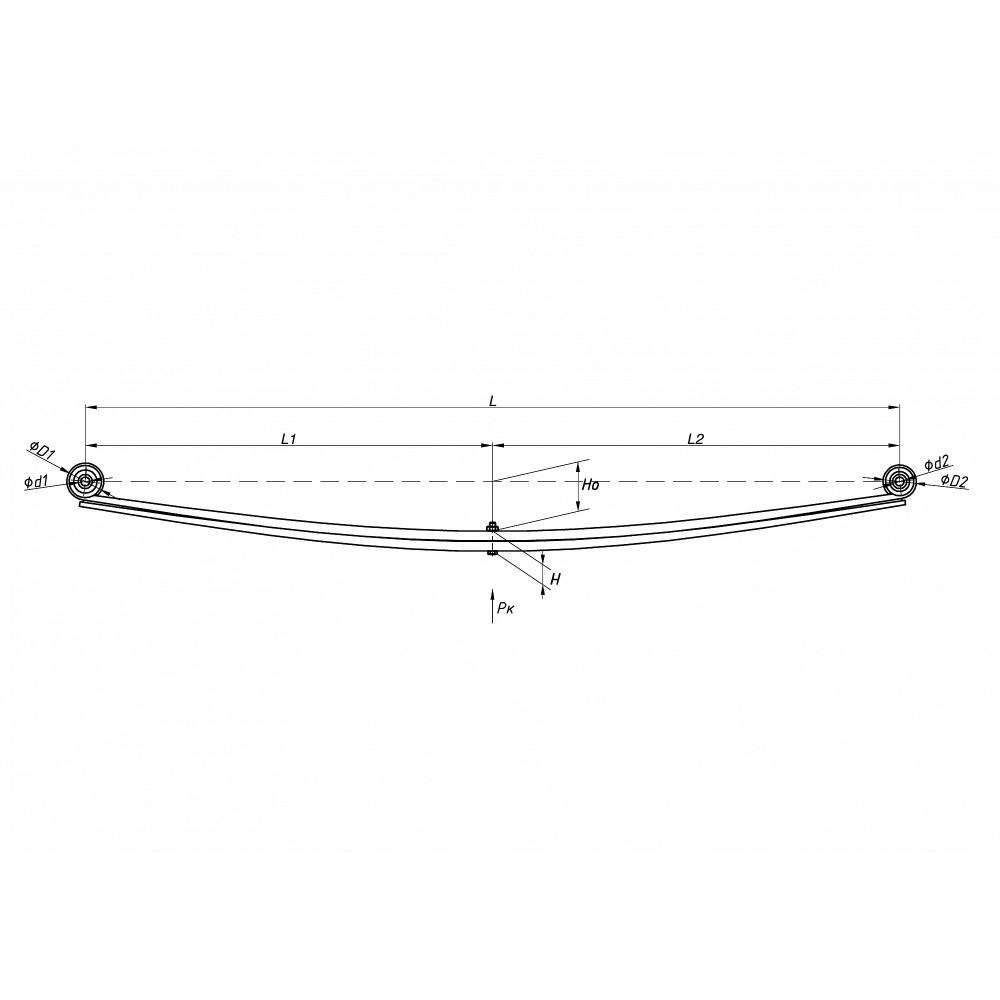 рессора FIAT 801702FА-2912012 (230-244 кузов) 2-х лист. зад, 690000215
