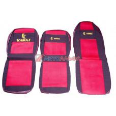 Чехол на сидения КАМАЗ высокий красный (выс.+ низк), (гобелен, иск.кожа, сетка) - Качество, 462