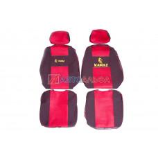 Чехол на сидения КАМАЗ Евро (65116) красный (2высок., 2подгол)(гобелен, иск.кожа, сетка) - Качество, 468