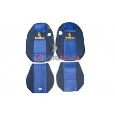 Чехол на сидения КАМАЗ 5490 синий (гобелен, сетка, иск. кожа) (2высок., дыра под ремень безопас.) - Качество, 460